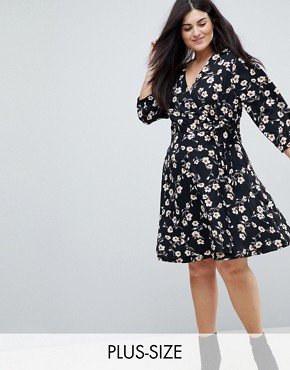 photo Wrap Dress in Floral Print by Yumi Plus, color Black - Image 1