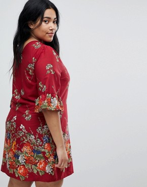 photo Frill Sleeve Shift Dress in Floral Border Print by Yumi Plus, color Red - Image 2