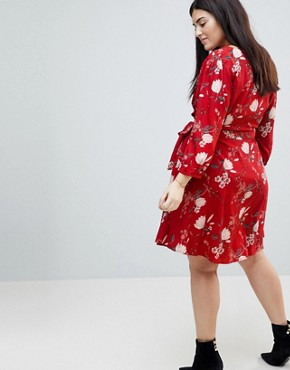 photo Wrap Dress in Floral Print by Yumi Plus, color Red - Image 2