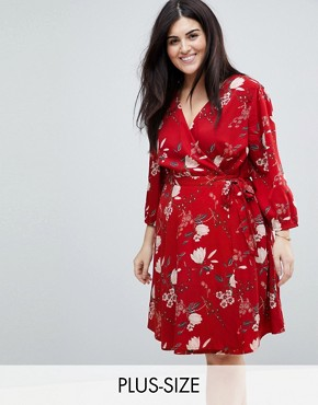 photo Wrap Dress in Floral Print by Yumi Plus, color Red - Image 1