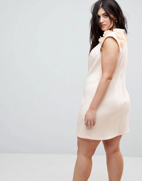 photo 3D Flower Shoulder Mini Shift Dress by ASOS CURVE, color Nude - Image 2