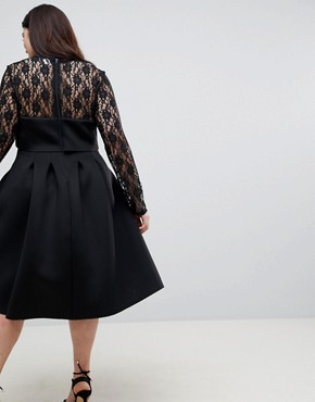 photo Lace Long Sleeve Crop Top Prom Dress by ASOS CURVE, color Black - Image 2
