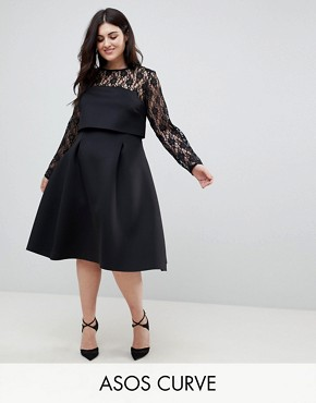 photo Lace Long Sleeve Crop Top Prom Dress by ASOS CURVE, color Black - Image 1