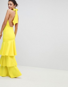 photo Halter Neck Tiered Bow Back Maxi Dress by ASOS TALL, color Yellow - Image 2