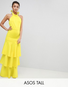 photo Halter Neck Tiered Bow Back Maxi Dress by ASOS TALL, color Yellow - Image 1