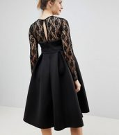 photo Lace Long Sleeve Crop Top Prom Dress by ASOS Maternity, color Black - Image 2