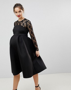 photo Lace Long Sleeve Crop Top Prom Dress by ASOS Maternity, color Black - Image 4