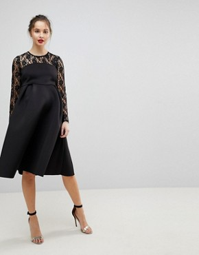 photo Lace Long Sleeve Crop Top Prom Dress by ASOS Maternity, color Black - Image 1