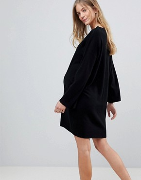 photo Maternity Oversized Dress with Wide Sleeve by ASOS DESIGN, color Black - Image 3