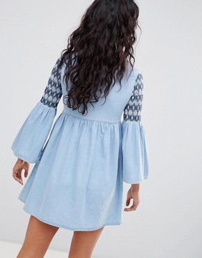 photo Denim Smock Dress with Embroidery in Midwash Blue by ASOS DESIGN, color Blue - Image 2