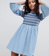 photo Denim Smock Dress with Embroidery in Midwash Blue by ASOS DESIGN, color Blue - Image 1