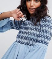 photo Denim Smock Dress with Embroidery in Midwash Blue by ASOS DESIGN, color Blue - Image 3