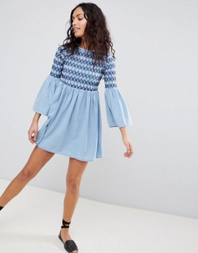 photo Denim Smock Dress with Embroidery in Midwash Blue by ASOS DESIGN, color Blue - Image 4