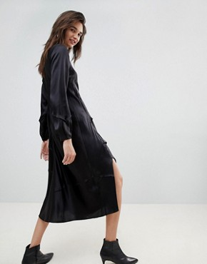 photo Long Sleeved Silk Dress by ASOS WHITE, color Black - Image 2