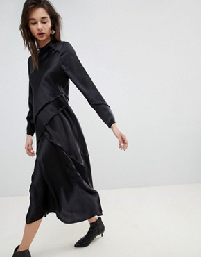 photo Long Sleeved Silk Dress by ASOS WHITE, color Black - Image 1