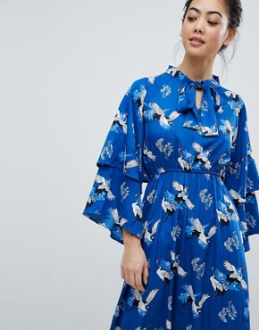 photo Frill Sleeve Maxi Dress in Heron Print by Yumi Petite, color Blue - Image 2