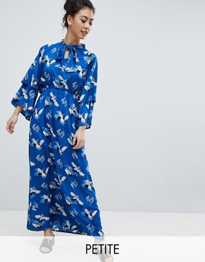 photo Frill Sleeve Maxi Dress in Heron Print by Yumi Petite, color Blue - Image 1