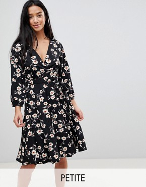 photo Wrap Dress in Floral Print by Yumi Petite, color Black - Image 1