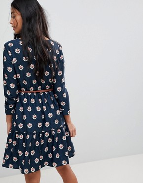photo Long Sleeve Belted Dress in Tulip Heart Print by Yumi Petite, color Navy - Image 2