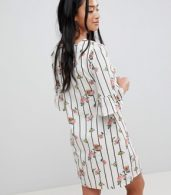photo Frill Sleeve Shift Dress in Stripe Floral Print by Yumi Petite, color White - Image 2