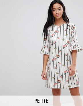 photo Frill Sleeve Shift Dress in Stripe Floral Print by Yumi Petite, color White - Image 1
