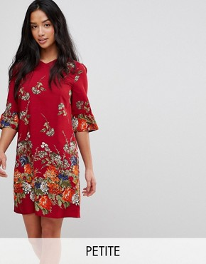 photo Frill Sleeve Shift Dress in Floral Border Print by Yumi Petite, color Red - Image 1
