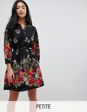 photo 3/4 Sleeve Belted Dress in Floral Border Print by Yumi Petite, color Black - Image 1
