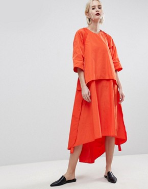 photo Strap and Layer Detail Midi Dress by ASOS WHITE, color Red - Image 2