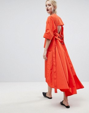 photo Strap and Layer Detail Midi Dress by ASOS WHITE, color Red - Image 1