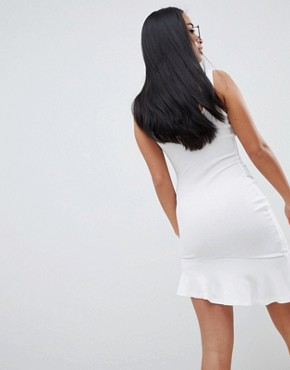photo Mini Vest Dress with Scoop Back and Asymmetric Frill Hem by ASOS PETITE, color White - Image 2