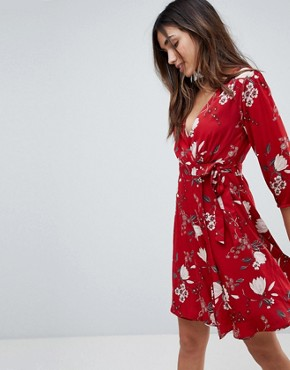 photo Wrap Dress in Floral Print by Yumi, color Red - Image 1