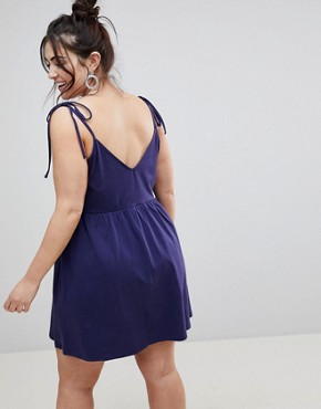 photo Mini Smock Sundress with Tie Straps by ASOS DESIGN Curve, color Navy - Image 2
