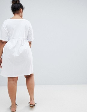 photo Ultimate Cotton Smock Dress by ASOS DESIGN Curve, color White - Image 2
