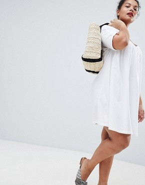 photo Ultimate Cotton Smock Dress by ASOS DESIGN Curve, color White - Image 4