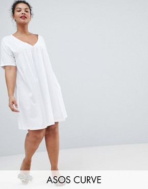 photo Ultimate Cotton Smock Dress by ASOS DESIGN Curve, color White - Image 1