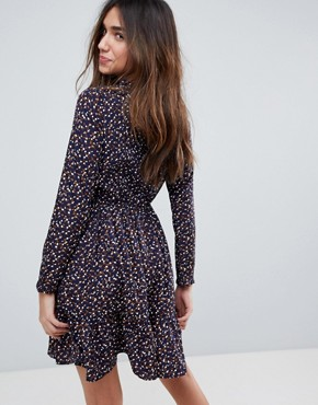 photo Long Sleeve Tea Dress in Ditsy Floral by Yumi, color Navy - Image 2