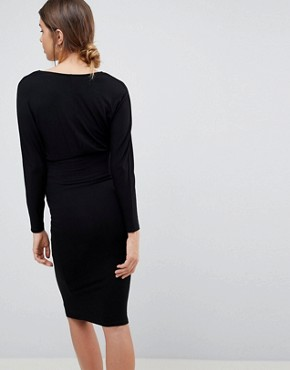 photo Batwing Sleeve Midi Dress by ASOS Maternity, color Black - Image 2