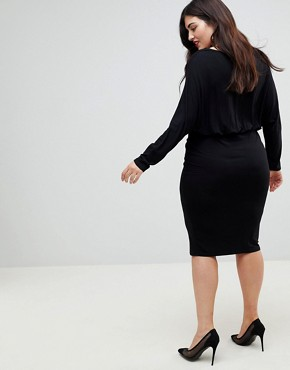 photo Batwing Sleeve Midi Dress by ASOS CURVE, color Black - Image 2