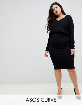 photo Batwing Sleeve Midi Dress by ASOS CURVE, color Black - Image 1