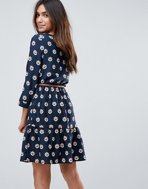 photo Long Sleeve Belted Dress in Tulip Heart Print by Yumi, color Navy - Image 2