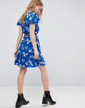photo Wrap Front Dress with Belt in Heron Print by Yumi, color Blue - Image 2