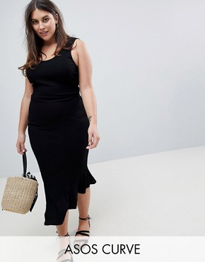 photo Maxi Vest Dress with Scoop Back and Asymmetric Frill Hem by ASOS DESIGN Curve, color Black - Image 1