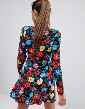 photo Floral Frill Detail Tea Dress by Missguided, color Black Floral - Image 2