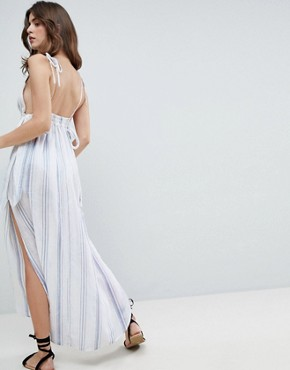 photo Natural Stripe Maxi Beach Dress by ASOS, color White/Blue - Image 2