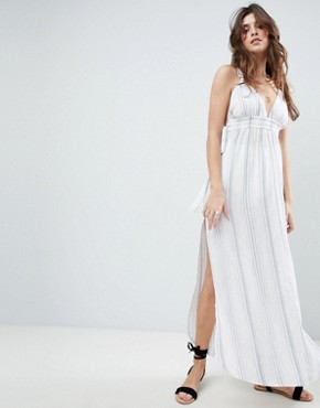 photo Natural Stripe Maxi Beach Dress by ASOS, color White/Blue - Image 1