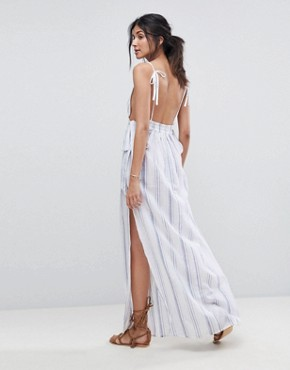 photo Natural Stripe Maxi Beach Dress by ASOS TALL, color White/Blue - Image 2