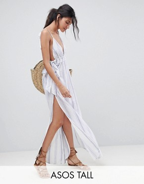 photo Natural Stripe Maxi Beach Dress by ASOS TALL, color White/Blue - Image 1