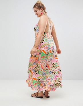 photo New Retro Print Pom Pom Trim High Low Hem Maxi Beach Dress by ASOS CURVE, color New Retro - Image 2