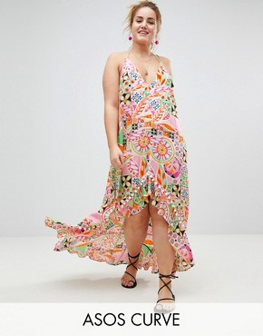 photo New Retro Print Pom Pom Trim High Low Hem Maxi Beach Dress by ASOS CURVE, color New Retro - Image 1