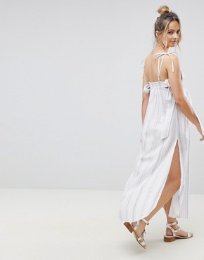 photo Natural Stripe Maxi Beach Dress by ASOS Maternity, color White/Blue - Image 2